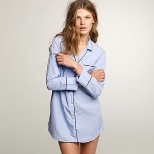 NWT J.Crew Nightshirt in End-On-End Cotton, Blue